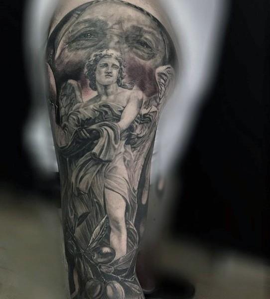 Antic like black and white sad angel statue tattoo on sleeve