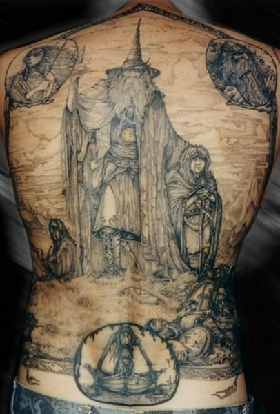 Antic medieval ages themed colored whole back tattoo of fantasy wizard and warriors