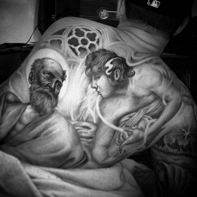Antic painting like black and white whole back tattoo of saint people portraits