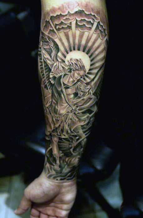 89b0e7ab1 Antic painting like multicolored forearm tattoo of angel fighting demons  with sun