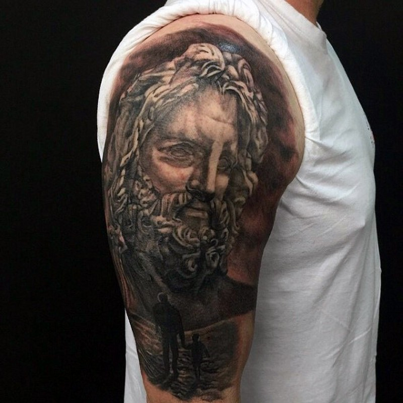 Antic style big black and white statue tattoo on half sleeve area