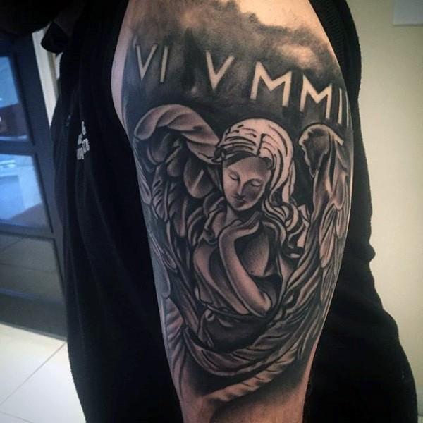 antic style black ink shoulder tattoo of angel statue with emblem. Black Bedroom Furniture Sets. Home Design Ideas