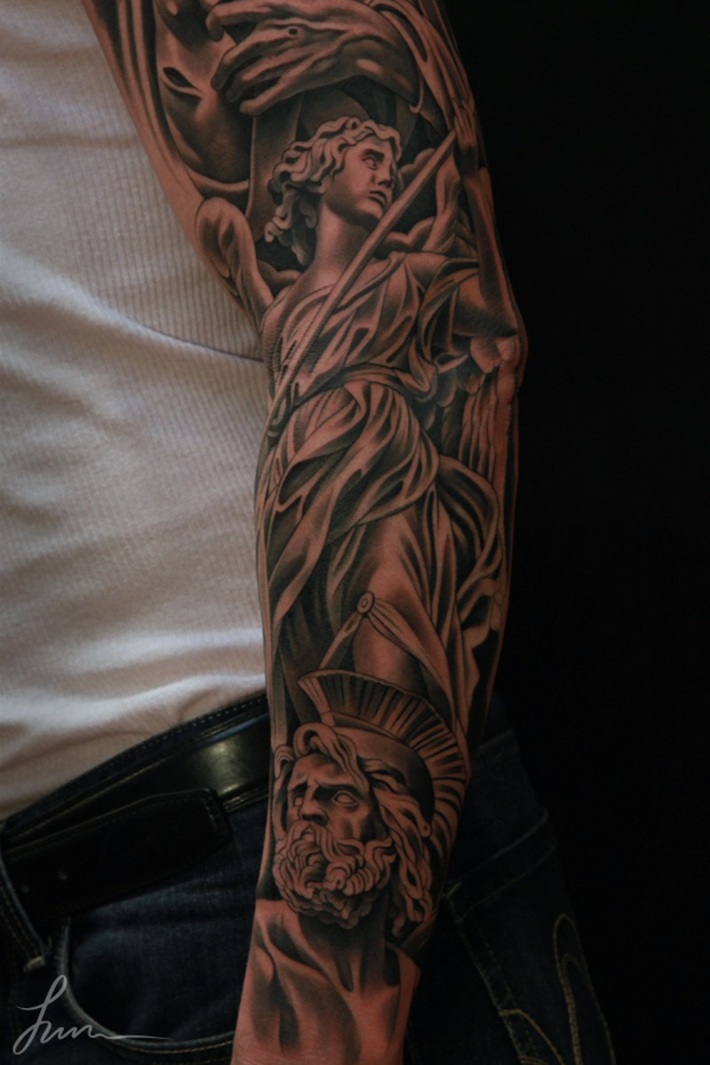 Antic style black ink sleeve tattoo of various detailed statues