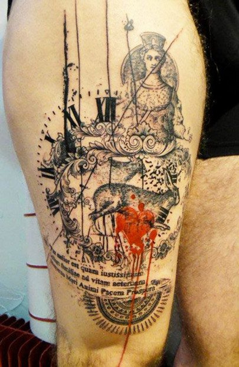 Antic style painted colored abstract tattoo with clock and lettering on thigh