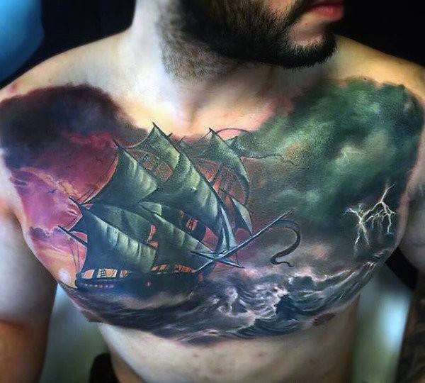 Art style colored chest tattoo of sailing ship in stormy sea