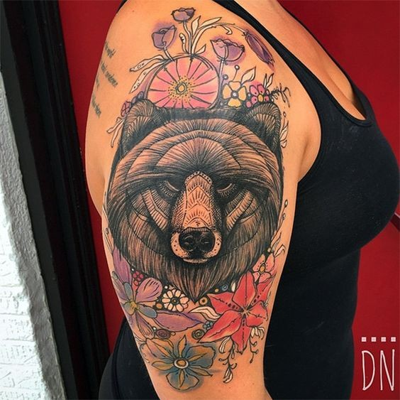 Art style painted by Dino Nemec tattoo of bear head with flowers