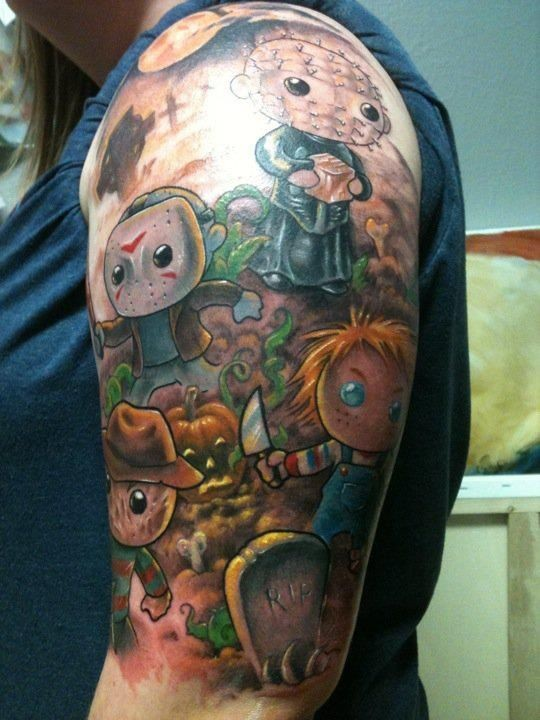 Asian cartoons like colored horror movies heroes tattoo on shoulder
