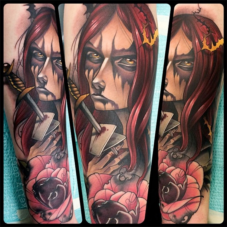 Asian cartoons style colored evil witch tattoo on forearm with bloody dagger and flower