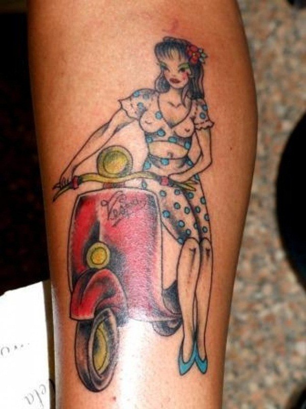 Asian cartoons style painted interesting woman with scooter tattoo on leg