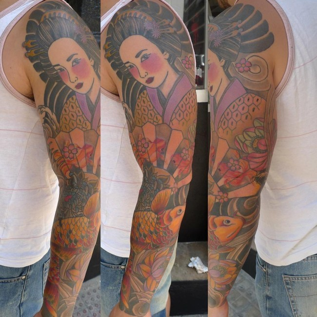 Asian Geisha with hand fen and carp fish colored sleeve tattoo