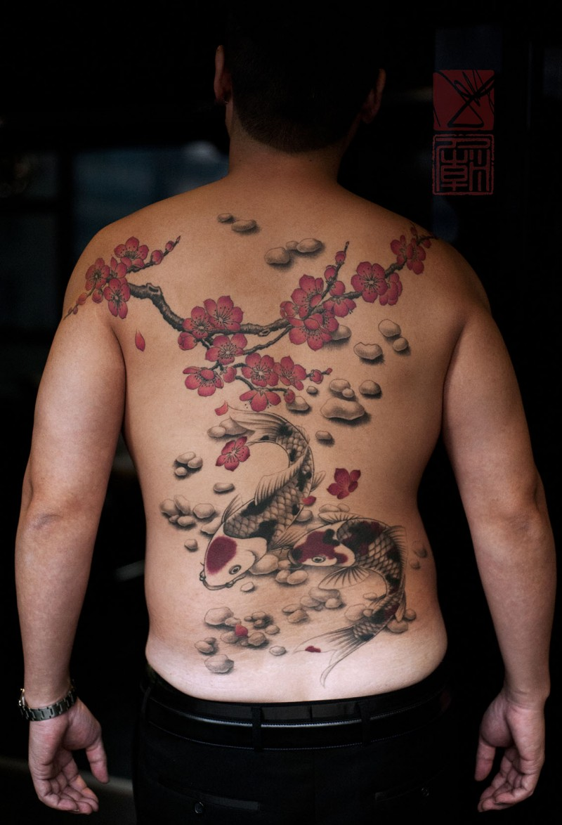 Asian native colored carp fishes tattoo on whole back with blooming tree