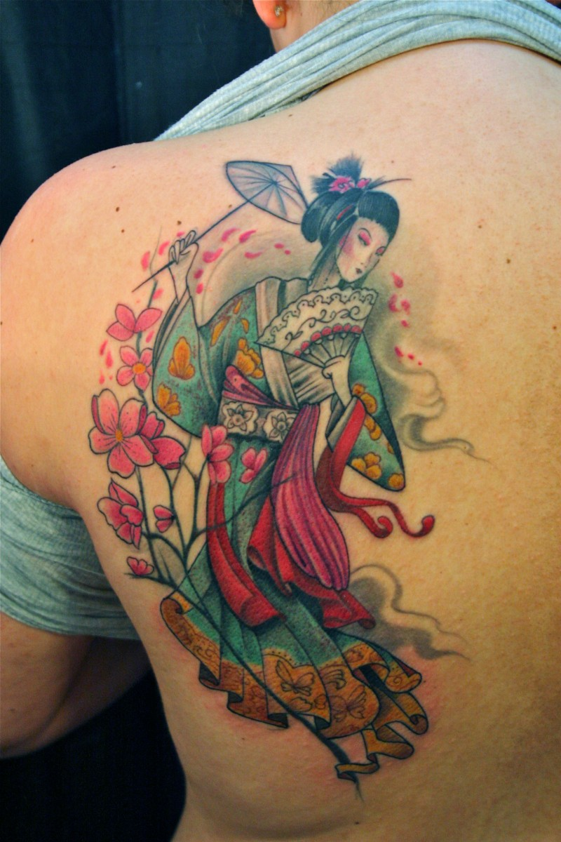 Asian native designed and colored cute woman with umbrella and fan tattoo combined with pink flowers