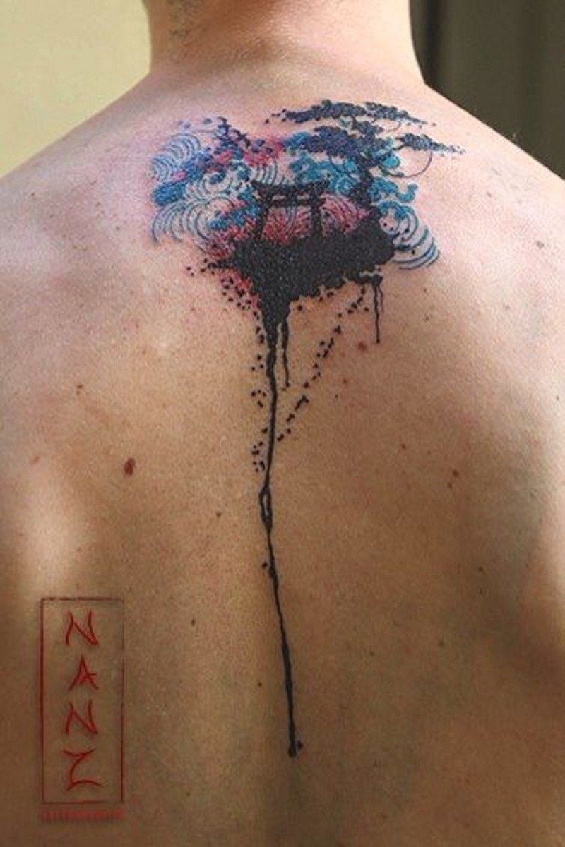 Asian style abstract colored upper back tattoo of little shrine and trees