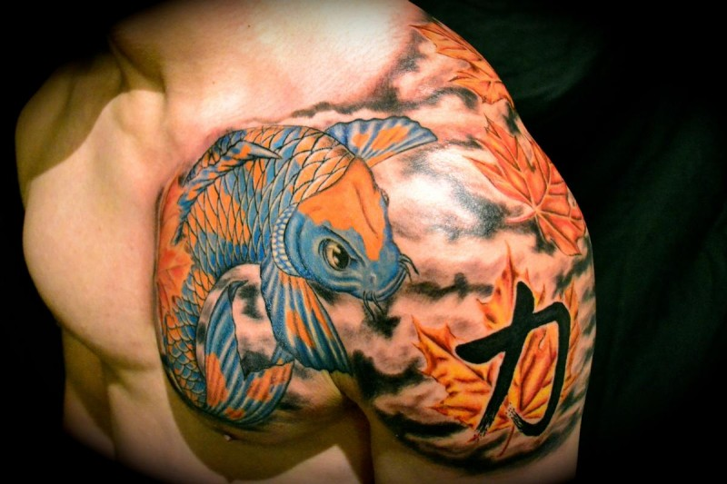 Asian style accurate color shoulder tattoo of carp fish with leaves and symbol
