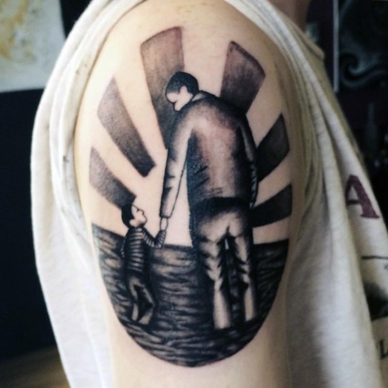 asiatico grande  stile nero e bianco padre con figlio tatuaggio su spalla