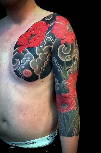 Asian style big detailed realistic colored poppy flowers sleeve and chest tattoo