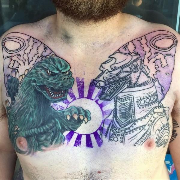 Asian style big half colored unfinished Godzilla tattoo on chest