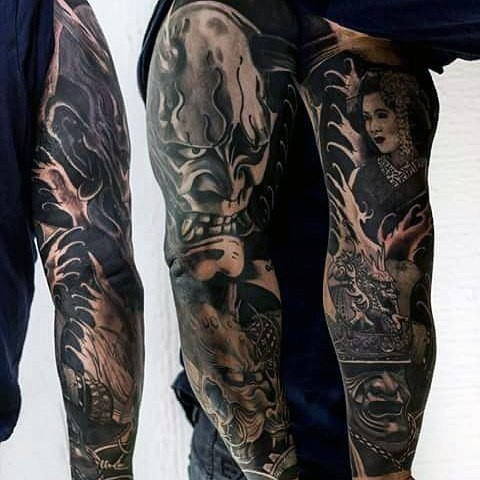 Asian style black and white detailed samurai  masks tattoo on sleeve with geisha portrait