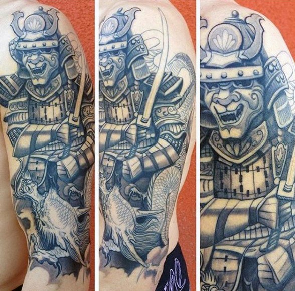 Asian style black and white forearm tattoo of samurai warrior with fish