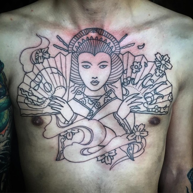 Asian style black ink unfinished Geisha with hand fens tattoo on chest
