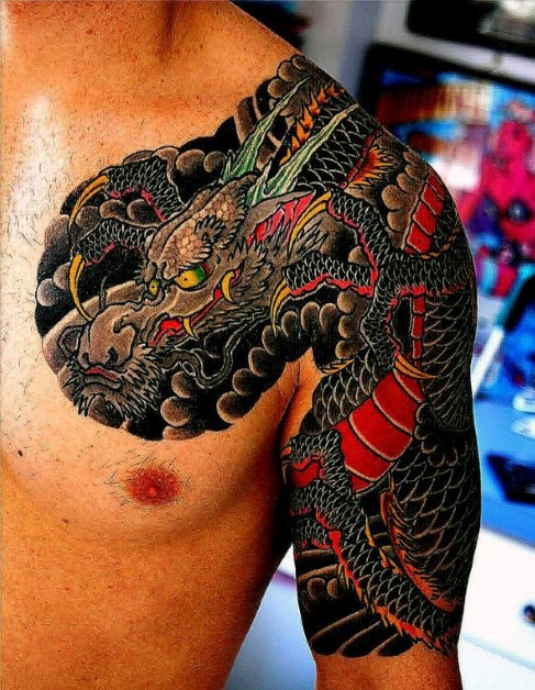 Asian style chest and half sleeve multicolored dragon tattoo