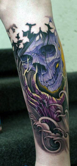 Asian style colorful forearm tattoo of demonic skull