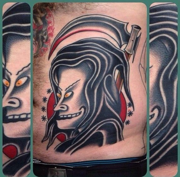 Asian style death demon tattoo by nick mayes