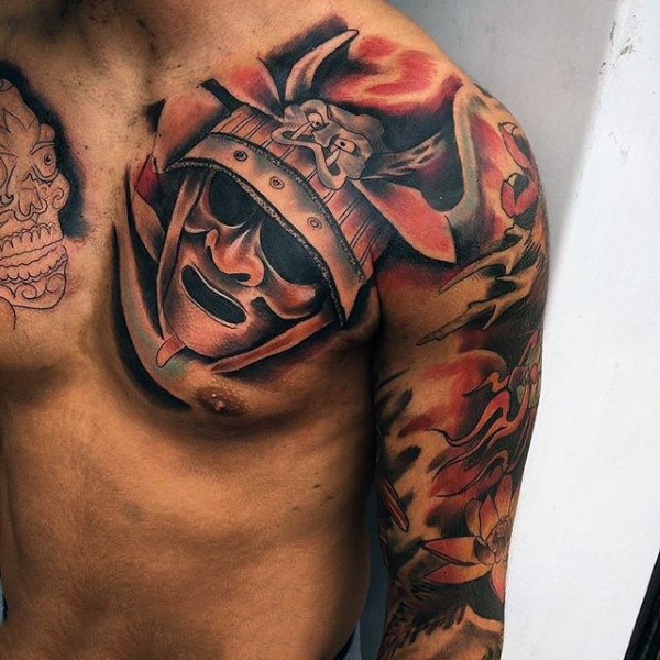 Asian style designed colored on chest and sleeve tattoo for Japanese style chest tattoos