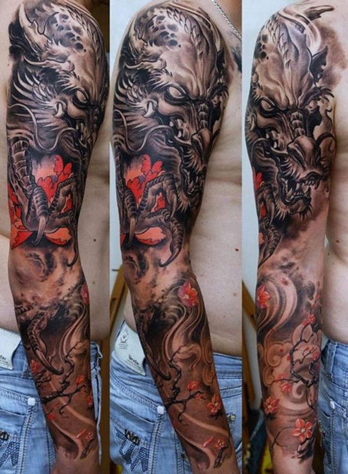 Asian style detailed colored dragon tattoo on sleeve combined with blooming flower