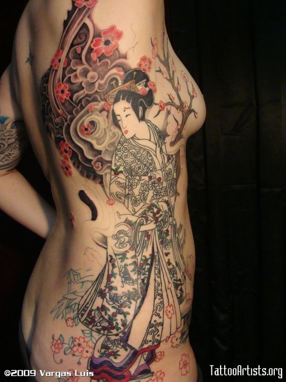 Asian style detailed multicolored geisha with flowers big tattoo on whole back