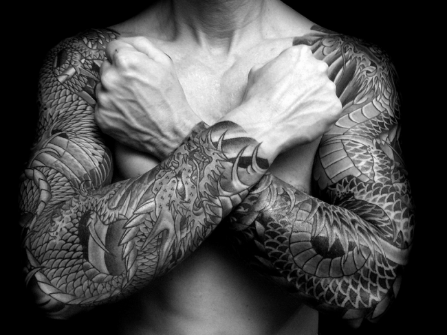 Asian style dragon super detailed sleeve tattoo on both arms