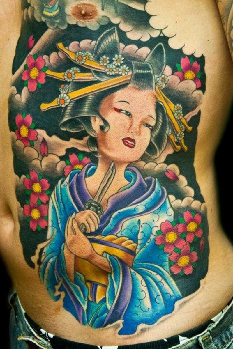 Asian style Geisha with knife committing suicide colored belly and chest tattoo with flowers