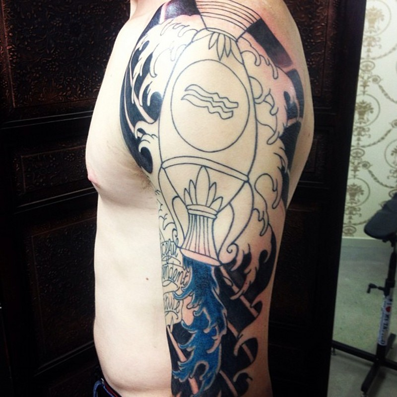 Asian style half colored shoulder tattoo of Aquarius symbol