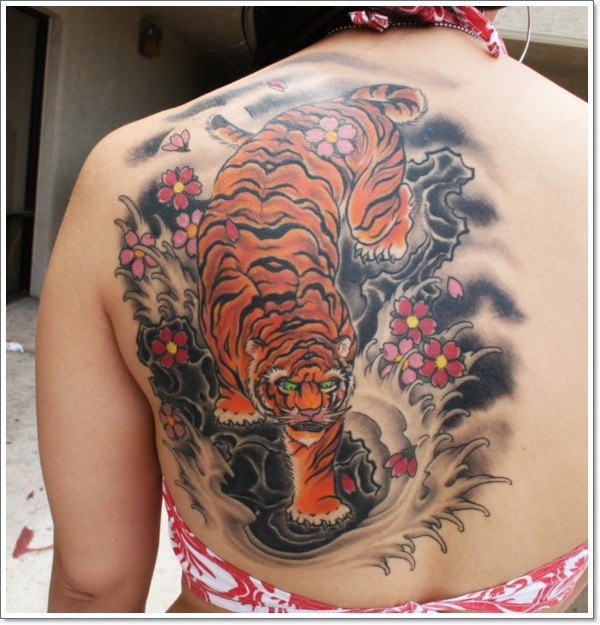 Asian style massive colored demonic tiger tattoo on shoulder