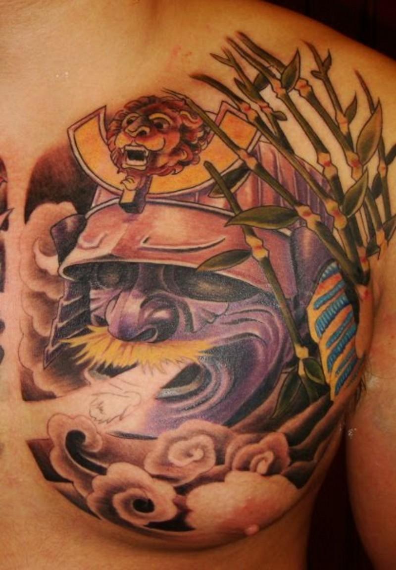 Asian style multicolored magical Samurai helmet tattoo on chest