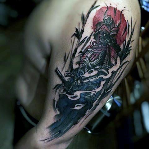 Asian style multicolored mystic samurai warrior shoulder length tattoo