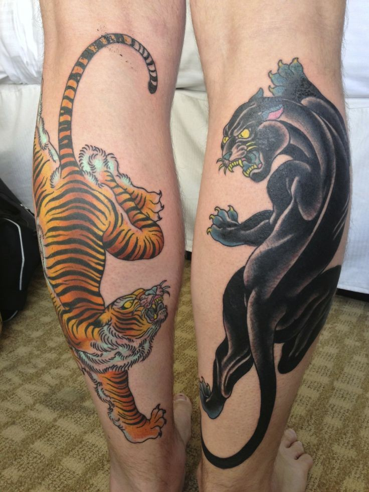 Asian style multicolored tiger fighting with black panther tattoo on legs