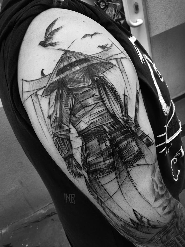 Stile asiatico dipinto da Inez Janiak tattoo of fantasy warrior