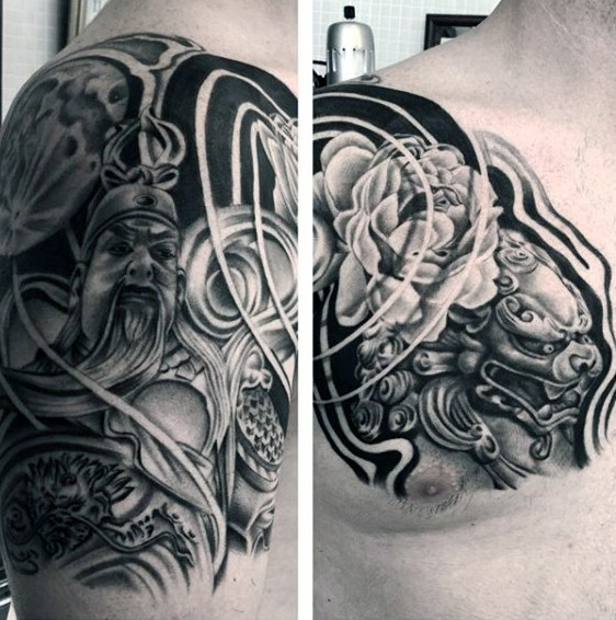 Asian style stunning black and white warrior with tiger tattoo on chest
