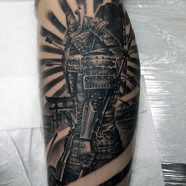 Asian style very detailed colored leg tattoo of samurai warrior with arrows in body