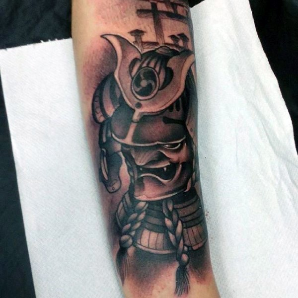 d524f8e7b Asian style very detailed funny forearm tattoo of samurai warrior tattoo