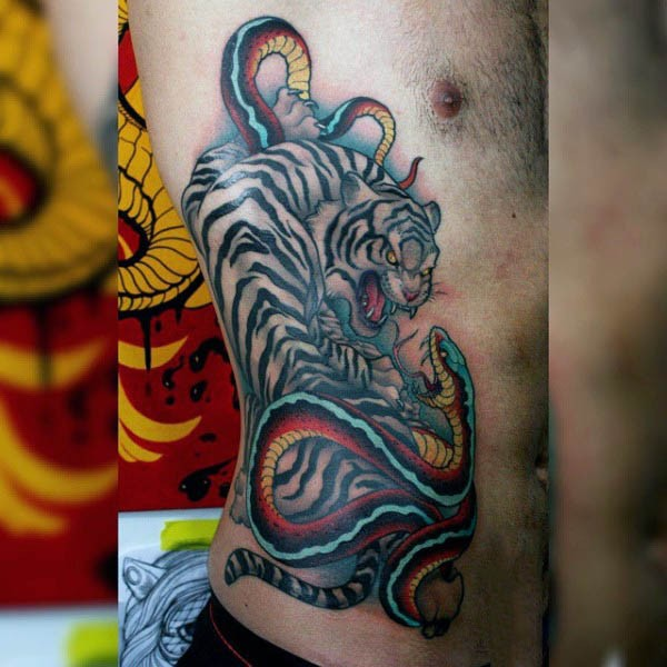 Asian style white Bengal tiger vs snake colored side tattoo