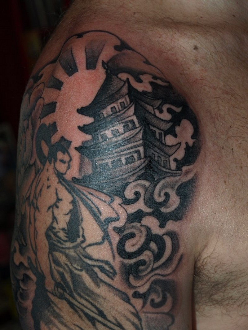 Asian themed black and white shoulder tattoo of samurai warrior and big temple