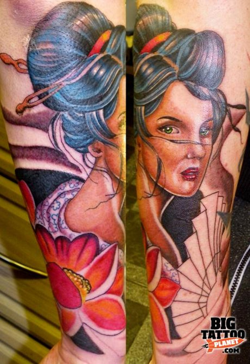 Asian traditional colored forearm tattoo of geisha woman and flower