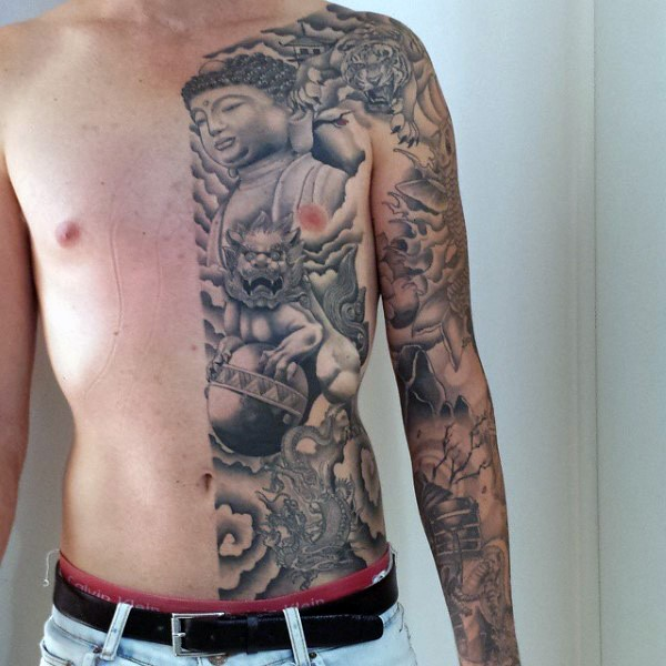 Asian traditional gray washed style black ink various symbols tattoo on sleeve and half chest and belly