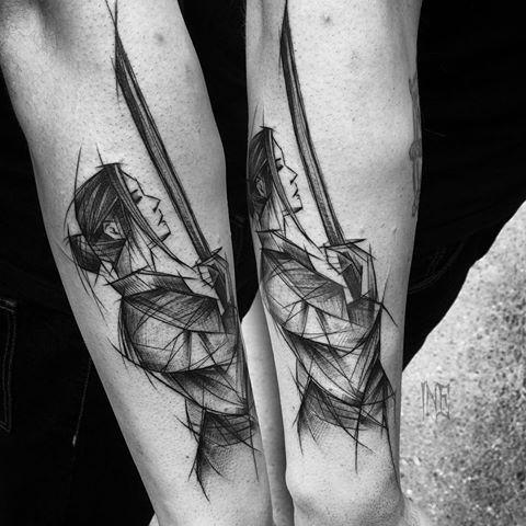Asian traditional style black ink arm tattoo of woman samurai warrior by Inez Janiak