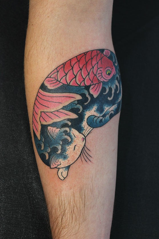 Asian traditional style colored forearm tattoo of Manmon cat stylized with fish by horitomo