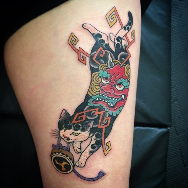 Asian traditional style colored thigh tattoo  of Manmon cat by horitomo