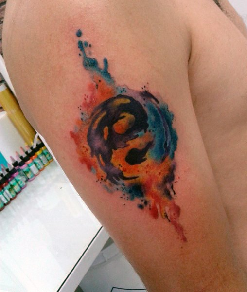 Asian Yin Yang special symbol shoulder colored tattoo in watercolor style