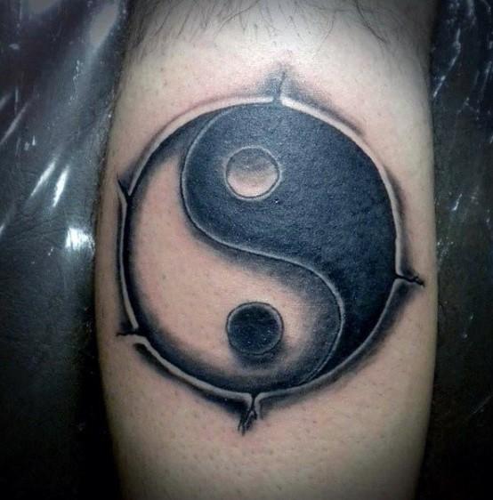 Asian Yin Yang symbol into skin tattoo in 3D style